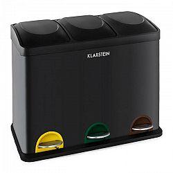 Klarstein Ökosystem odpadkový kôš nášľapný kôš triedič odpadu 45L (3x15L) čierna